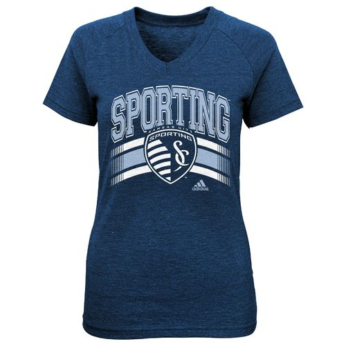 adidas™ Girls' Sporting Kansas City Middle Logo Stripe T-shirt