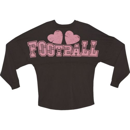 Above Wings™ Women's Wing Back™ Football Hearts Long Sleeve Shirt