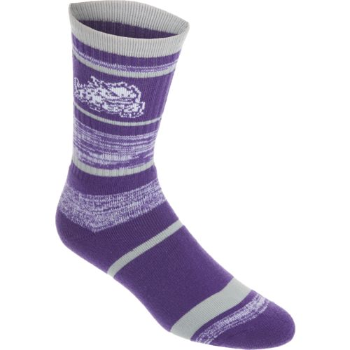 FBF Originals Men's Texas Christian University Stripe Athletic Crew Socks