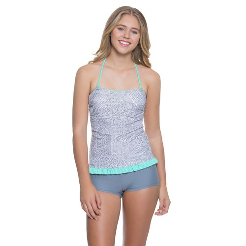 O'Rageous Juniors' Tides and Tiles Bandeaukini Swim Top