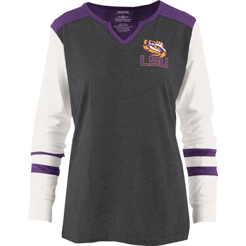 Three Squared Juniors' Louisiana State University Mia Raglan Long Sleeve Henley Shirt