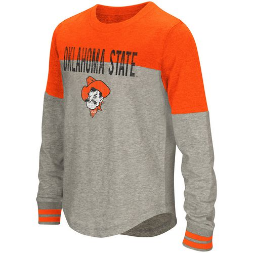 Colosseum Athletics Girls' Oklahoma State University Baton Long Sleeve T-shirt