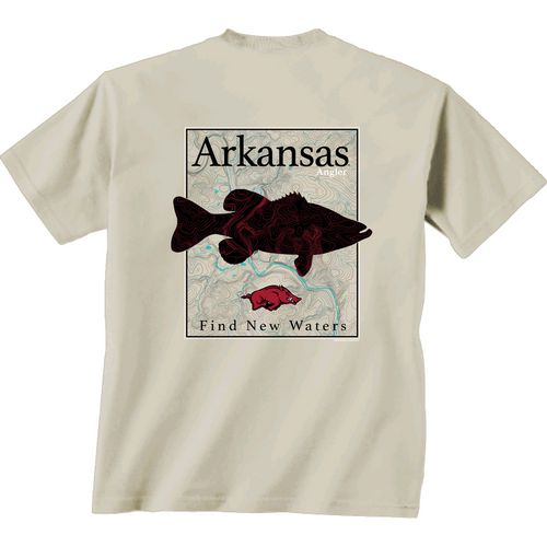New World Graphics Men's University of Arkansas Angler Topo Short Sleeve T-shirt