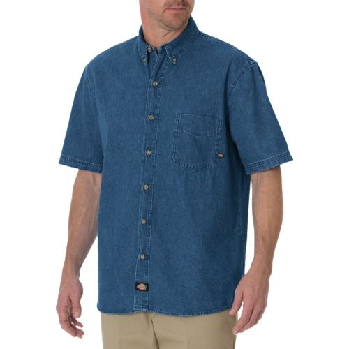 Dickies Men's Short Sleeve Button Down Denim Shirt