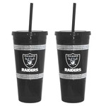 Boelter Brands Oakland Raiders 22 oz. Bling Straw Tumblers 2-Pack