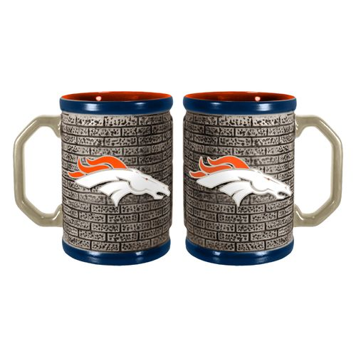 Boelter Brands Denver Broncos Stone Wall 15 oz. Coffee Mugs 2-Pack