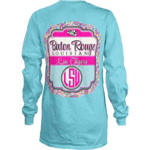 Three Squared Juniors' Louisiana State University Paisley Frame T-shirt