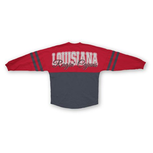 Three Squared Juniors' University of Louisiana at Lafayette Varsity Script Logo Sweeper T-shirt
