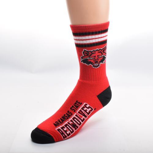 FBF Originals Men's Arkansas State University 4-Stripe Deuce Crew Socks