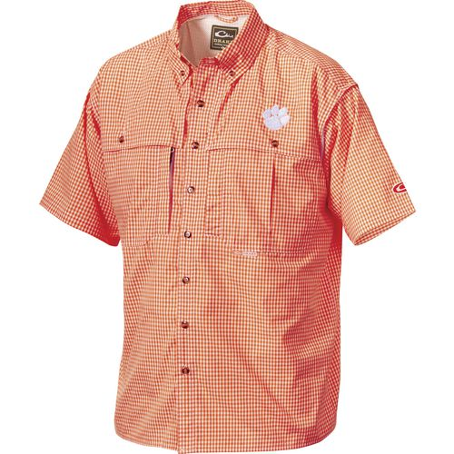 Drake Waterfowl Men's Clemson University Gameday Wingshooter's Short Sleeve Button-Down Shir