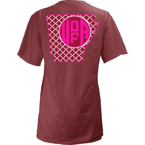 Three Squared Juniors' University of Arkansas Quatrefoil State Monogram T-shirt