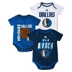adidas™ Infants' Dallas Mavericks 3 Point Spread Bodysuits 3-Pack