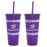Boelter Brands Baltimore Ravens 22 oz. Bling Straw Tumblers 2-Pack