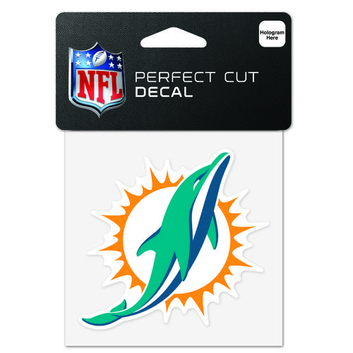 "WinCraft Miami Dolphins 4"" x 4"" Perfect Cut"