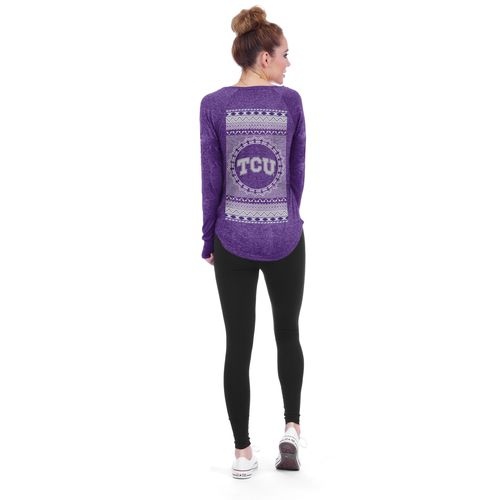 Chicka-d Women's Texas Christian University Favorite V-neck Long Sleeve T-shirt
