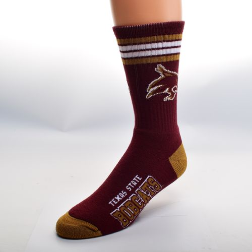 FBF Originals Men's Texas State University 4-Stripe Deuce Crew Socks
