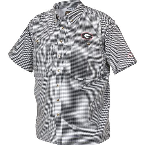 Drake Waterfowl Men's University of Georgia Gameday Wingshooter's Short Sleeve Button-Down S