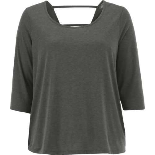 Display product reviews for BCG Women's Strappy Back Plus Size 3/4 Sleeve T-shirt