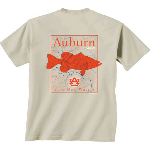 New World Graphics Men's Auburn University Angler Topo Short Sleeve T-shirt