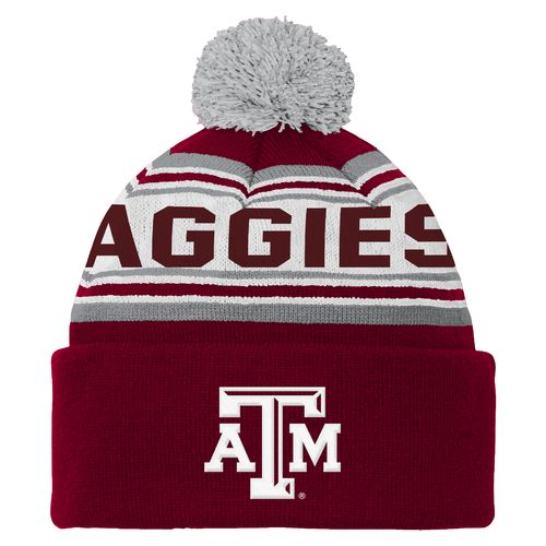 adidas™ Boys' Texas A&M University Cuffed Knit Cap with Pom