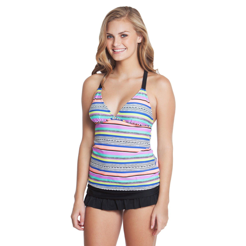 O'Rageous® Juniors' Shoreline Stripe Tankini Swim Top