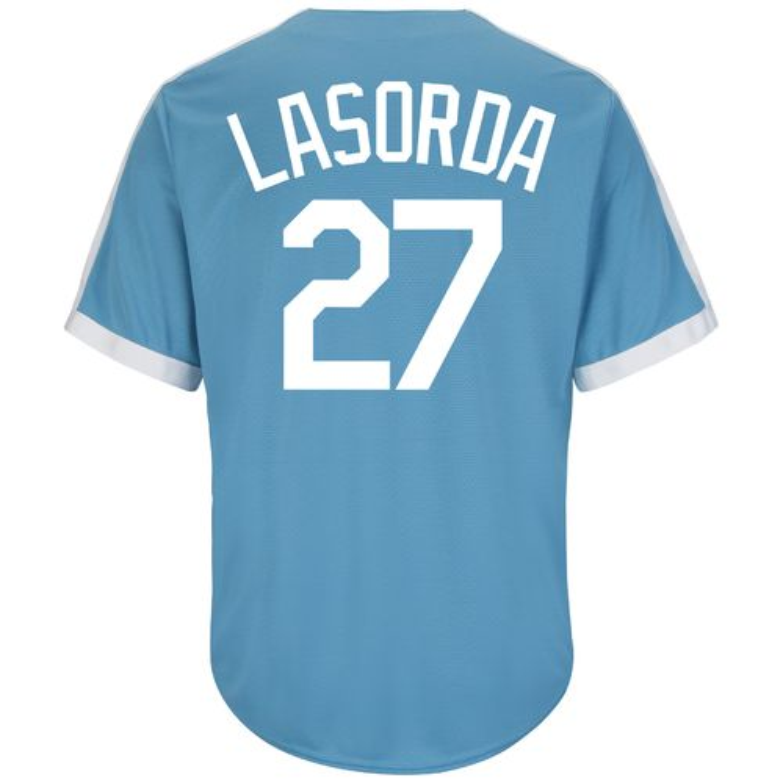 Majestic Men's Brooklyn Dodgers Tommy Lasorda #27 Cooperstown Cool Base® 1941-57 Replica Je