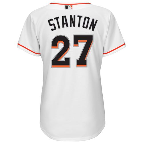 Majestic Women's Miami Marlins Giancarlo Stanton #27 Cool Base® Replica Home Jersey