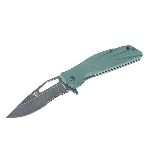 Tactical Performance™ Stonewash Drop-Point Cutout Knife