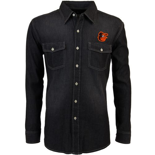 Antigua Men's Baltimore Orioles Long Sleeve Button Down Chambray Shirt