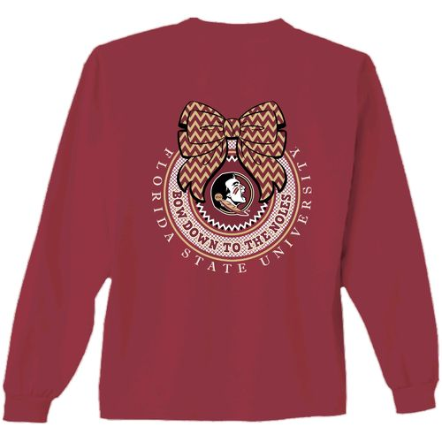 New World Graphics Women's Florida State University Ribbon Bow Long Sleeve T-shirt