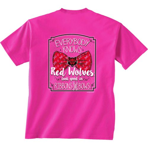 New World Graphics Women's Arkansas State University Ribbons T-shirt