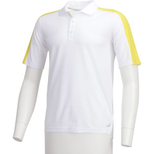 BCG Men's Laser Cut Striped Tennis Polo Shirt