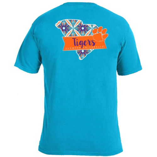 Image One Women's Clemson University Pattern Scroll State T-shirt
