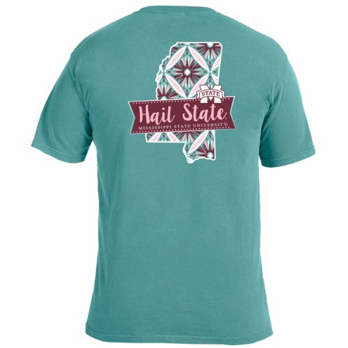 Image One Women's Mississippi State University Pattern Scroll State T-shirt