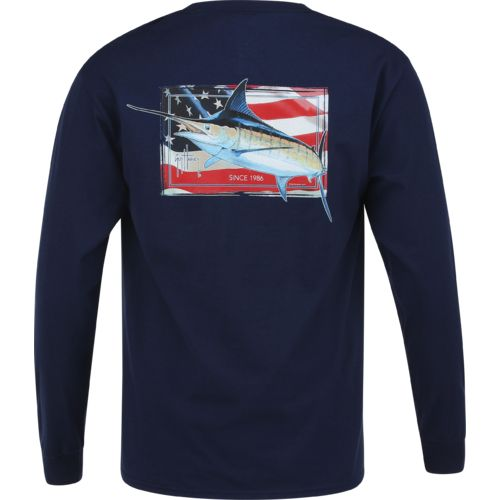 Guy Harvey Men's Black Magic Long Sleeve Pocket T-shirt