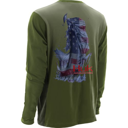 Huk Men's KScott American Bass Long Sleeve Performance T-shirt
