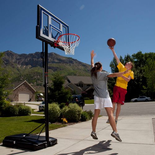 lifetime basketball goal lifetime courtside 48 quot polycarbonate portable basketball 10874