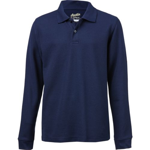 Austin Trading Co. Boys' School Uniform Long Sleeve Pique Polo Shirt