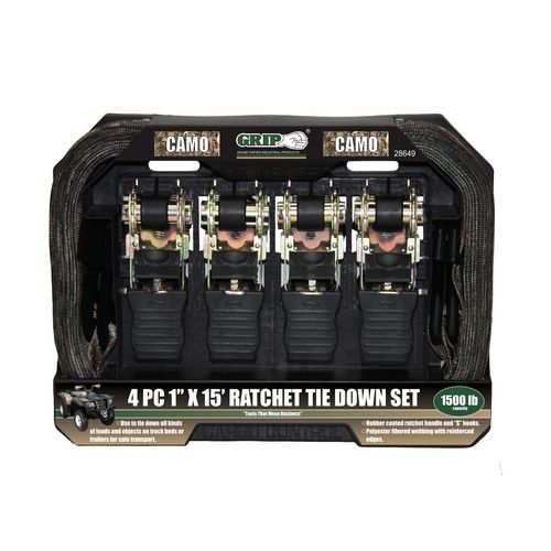 "GRIP 1"" x 15' Camo Ratchet Tie-Downs 4-Pack"