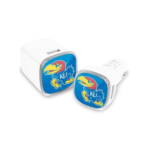 Mizco University of Kansas USB Chargers 2-Pack