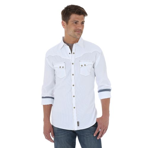 Display product reviews for Wrangler Men's Retro Long Sleeve Spread Collar Shirt