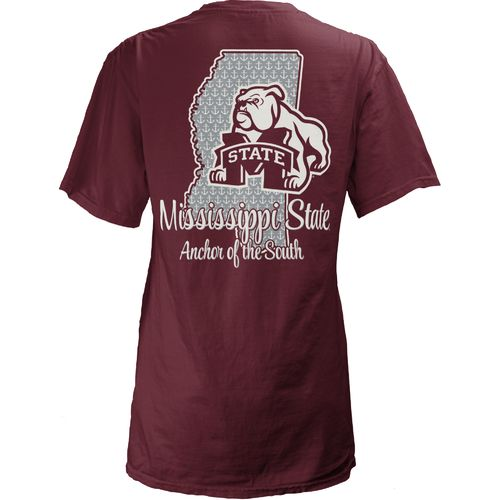 Three Squared Juniors' Mississippi State University State Monogram Anchor T-shirt