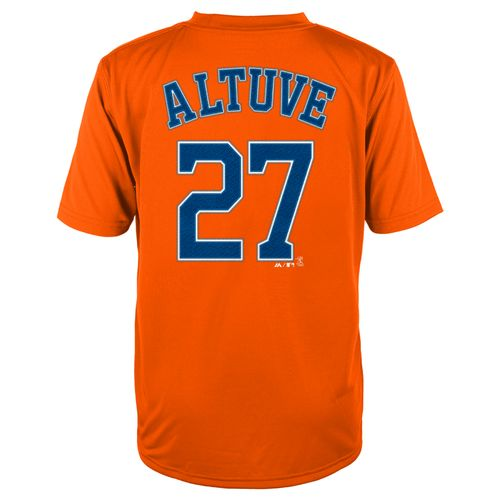 Display product reviews for MLB Boys' Houston Astros José Altuve #27 Flat Synthetic T-shirt
