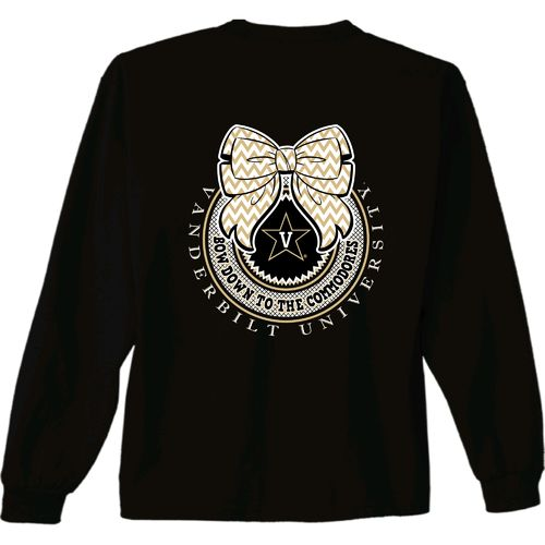 New World Graphics Women's Vanderbilt University Ribbon Bow Long Sleeve T-shirt