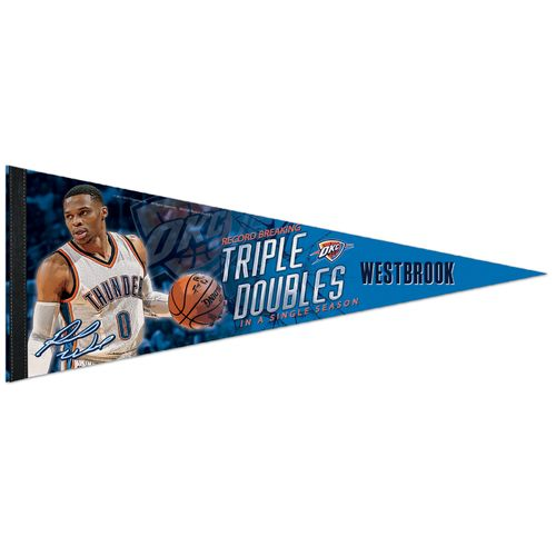 WinCraft Oklahoma City Thunder Russell Westbrook Triple Double 12 in x 30 in Premium Pennant - view number 1