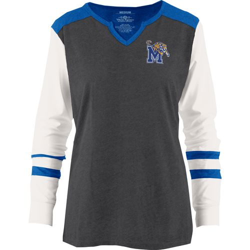 Three Squared Juniors' University of Memphis Mia Raglan Long Sleeve Henley Shirt