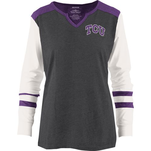 Three Squared Juniors' Texas Christian University Mia Raglan Long Sleeve Henley Shirt