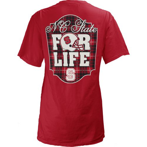 Three Squared Juniors' North Carolina State University Team For Life Short Sleeve V-neck T-shirt
