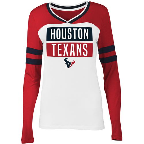 5th & Ocean Clothing Women's Houston Texans Block Fan Long Sleeve Shirt