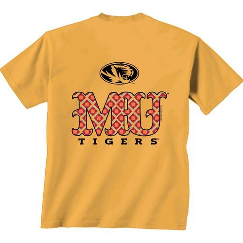 New World Graphics Women's University of Missouri Comfort Color Initial Pattern T-shirt